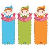 Christmas elf card with ribbon. Holiday vector illustration Royalty Free Stock Photo