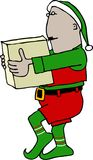 Christmas Elf carrying a box Stock Photo