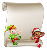 Christmas Elf Cartoon Characters Scroll Sign. A scroll sign with cute Christmas elf helpers cartoon Characters one in a Santa hat vector illustration
