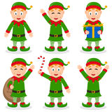 Christmas Elf Cartoon Characters Set Royalty Free Stock Images