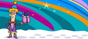 Christmas elf cartoon greeting card Stock Image