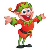 Christmas elf in cartoon style vector illustration