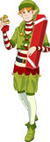 Christmas elf Caucasian boy with gift lineart Royalty Free Stock Photos