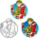 Christmas elf Caucasian boy with gift set Royalty Free Stock Photo
