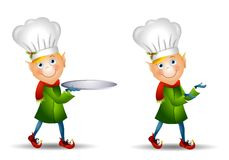 Christmas Elf Chef Hat. An illustration featuring a Christmas elf wearing a chef's hat - in version with holding serving tray and without Royalty Free Stock Image