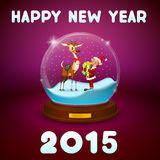 Christmas elf and christmas deer inside ball. On purple background vector illustration