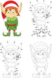 Christmas elf. Coloring book and dot to dot game for kids Royalty Free Stock Photography
