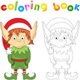 Christmas elf. Coloring book for kids Royalty Free Stock Photography