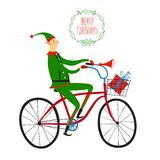 Christmas elf cyclist illustration. Vector illustration with cute christmas elf on city bicycle with gift box in basket Royalty Free Stock Photo