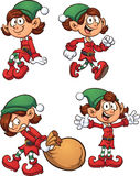 Christmas elf. In different poses. Vector clip art illustration with simple gradients. Each on a separate layer Stock Photos