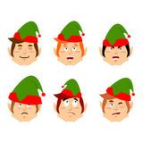 Christmas elf emoji. emotion set. Aggressive and good helper of Royalty Free Stock Images