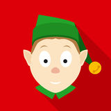 Christmas Elf Face in Flat Style with Long Shadows Royalty Free Stock Images