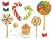 Free Christmas Elf Factory Sweet Items, Watercolor Stock Image - 163772891