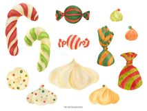 Free Christmas Elf Factory Sweet Items, Watercolor Stock Photo - 164132380