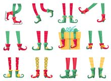 Free Christmas Elf Feet. Santa Claus Helpers, Cute Elves Legs In Boots And Striped Socks. Dwarf Leg And Gifts, Xmas Present Royalty Free Stock Photo - 194340725