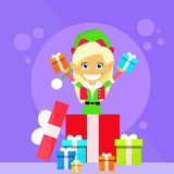 Christmas Elf Female Cartoon Character Little Gril Royalty Free Stock Images