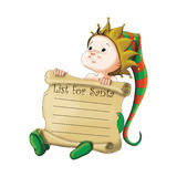 Christmas elf. Funny christmas elf illustration suitable for christmas postcards, tshorts, giftcards royalty free illustration