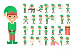 Christmas Elf Girl Santa Claus Helper in Different Poses and Actions Teen Characters Icons Set New Year Gift Holiday Stock Photos