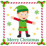 Christmas Elf Greetings Card. A cute Christmas elf greetings card. Eps file available Stock Photography