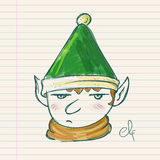 Christmas Elf Hand Drawing on Paper Royalty Free Stock Photos