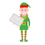 Christmas elf holds envelope Royalty Free Stock Photography