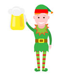 Christmas elf holds pint Stock Photography