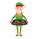 Christmas elf holds a tray of Christmas cookies Royalty Free Stock Photos