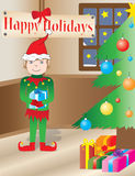 Christmas Elf in a holidays interior Royalty Free Stock Images
