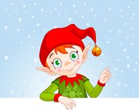 Christmas Elf Invite & Place Card. Cute Christmas Elf with a place card or invite Stock Image