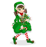 Christmas elf with lights Royalty Free Stock Images