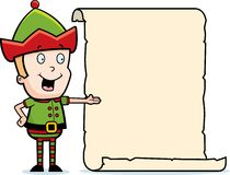 Christmas Elf List. A cartoon Christmas Elf pointing at a list Stock Photography