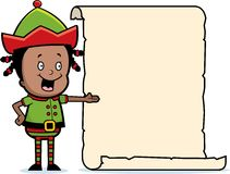 Christmas Elf List. A cartoon Christmas elf with a list Royalty Free Stock Photos
