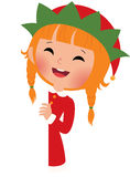 Christmas elf looking from behind the placard Stock Image