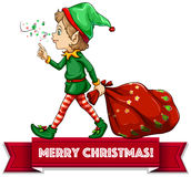 Christmas elf. Merry Christmas with elf and sack of toys Stock Images