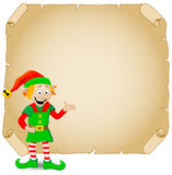 Christmas elf and old parchment Stock Photo