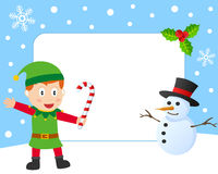 Christmas Elf Photo Frame. Photo frame, post card or page for your scrapbook. Subject: a Christmas elf and a snowman. Eps file available Royalty Free Stock Photo