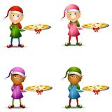 Christmas Elf Pizza Platter Stock Photo