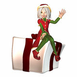 Christmas Elf with present Stock Image