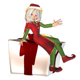 Christmas Elf with present Royalty Free Stock Images