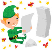 Christmas Elf Reading the Kids Letters Royalty Free Stock Photo