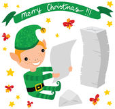 Christmas Elf Reading Letters Royalty Free Stock Image
