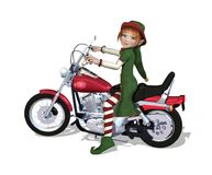 Christmas Elf Ready to Ride. A Christmas elf is sitting on a motorcycle, ready to ride - 3D render Royalty Free Stock Photos