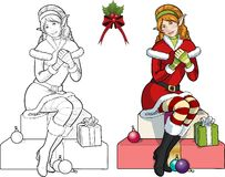 Christmas elf red Caucasian girl with mistletoe. Caucasian female Christmas elf red hair  sitting in gifts  with mistletoe illustration lineart and colored Stock Images