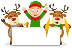 Christmas Elf & Reindeer with Banner. A happy Christmas elf and two funny reindeer, playing musical instruments, holding a blank banner. Eps file available vector illustration