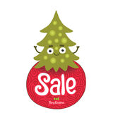 Christmas elf with sale label Royalty Free Stock Photography