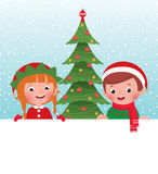 Christmas elf and Santa Claus and white banner Royalty Free Stock Image