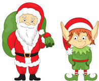 Christmas elf and Santa. Coloring book for kids Stock Photo