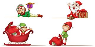 Christmas elf and Santa on white background. Illustration Royalty Free Stock Photos