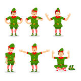 Christmas elf set of poses. Various movements assistant of Santa Stock Images