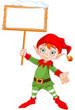 Christmas Elf with Sign. Illustration of a cute Christmas elf holding up a snowy sign Royalty Free Stock Photography